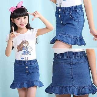 Little Girl Denim Skirt - YTR981  Size: 100cm, 110cm, 120cm, 130cm, 140cm, 150
