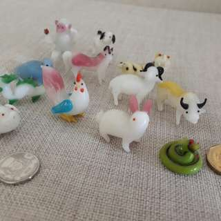vintage set of miniature Murano glass style 12 zodiac animals