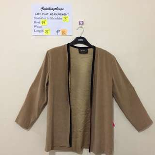 Plus Size Tawny Colored Open Cardigan with Black Piping