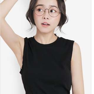 Tokichoi Sleeveless Rib Top in Black