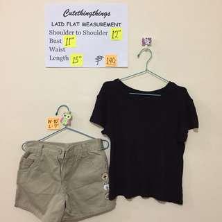 Girls Set - Black Tee and Osh Kosh Beige Shorts