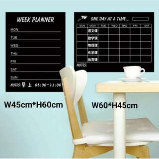 A.)Blackboard week planner Bar week Thermal film packaging 45*60cm / B.) DIY Weekly Chalkboard Stickers Wholesale Self-adhesive Decor Stickers Office Creative PP Film Stickers W60*45cm ( packaging comes with 4 pieces of chalk & 1 liquid pen )