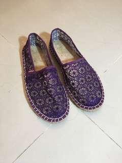 蕾絲橡膠底草編鞋 24號