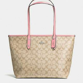 COACH CITY TOTE ( F36876 )  FURSCHIA & LIGHT PINK LEFT ONLY