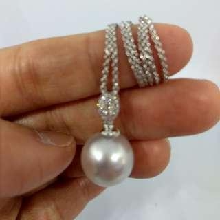 18K鑲鑽南洋白珍珠吊墜(不含鏈)