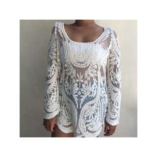 Flare Sleeved Sheer Lace Top