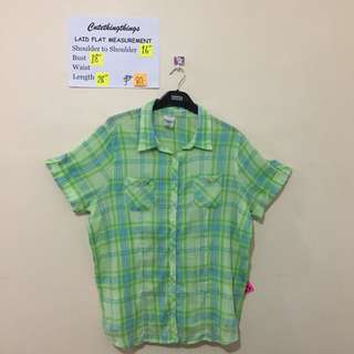Lime and Turquoise Plaid Madras Plaid Short Sleeved Top