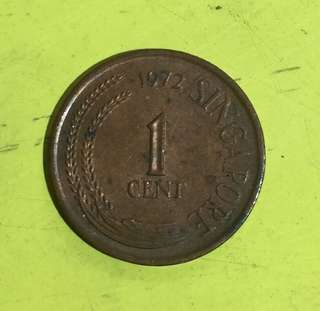 1972 Singapore 1st Series 1 Cent Coin
