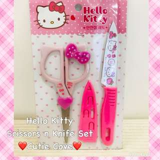 *NEW IN IN SG* Hello Kitty Scissors and Knife Set