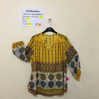 Plus Size Aztec Yellow Sheer Top