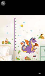 💥( 2 Designs . $10 Each ) Children's Room Wallpaper Wall Stickers Measure Height Sticker Bedroom Living Room Cartoon Cute Sticker Dinosaur / Giraffe Height Sticker Animal Home decor ( Raw sticker 90x60cm )