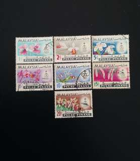 Malaysia 1965 Penang Orchids Def 7V Used Set (0410)