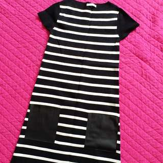 Zara striped knitted dress with leather pocket