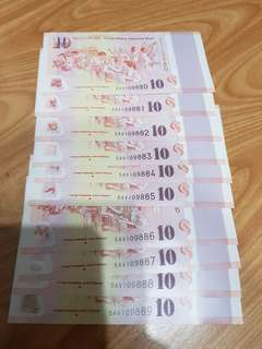 BN $10 Singapore Notes