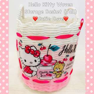 *NEW IN IN SG* Hello Kitty Woven Storage Basket (Tall)