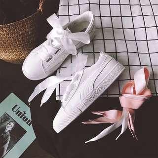 White ribbon shoes sneakers