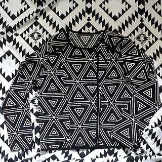 Geometric Zip-up Cardigan