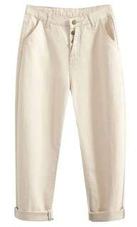Cream coloured high waisted mum jeans