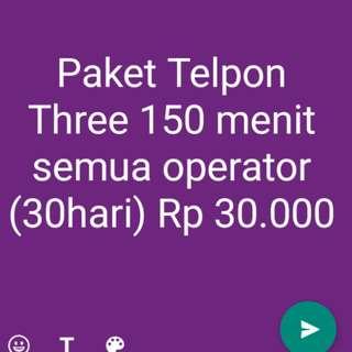 Paket Telpon Three semya operator 150 menit