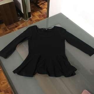 Cotton On Black Peplum Top
