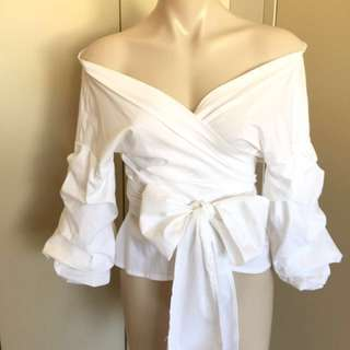 White Layered Sleeve Bow Tie Offshoulder