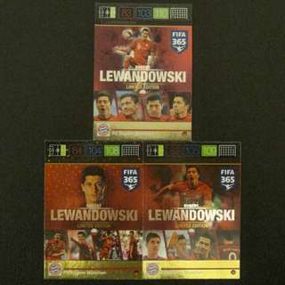 (3張卡套裝) 15/16 Panini Adrenalyn FIFA 365 Limited Edition - Robert LEWANDOWSKI #Bayern Munich