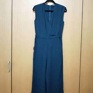 UNIQLO雪紡深藍色 連身褲裙