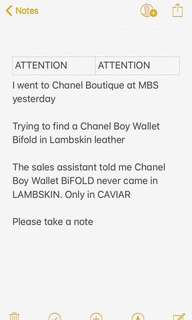 Attention! Chanel Boy BIFOLD Wallet NEVER CAME in Lambskin