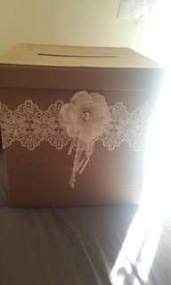 Large burlap & lace wedding card box/wishing well