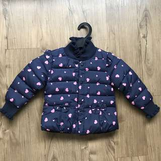 Girls Navy Blue with Hearts Autumn / Winter Jacket