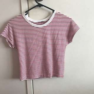 Red and white striped crop from Zara