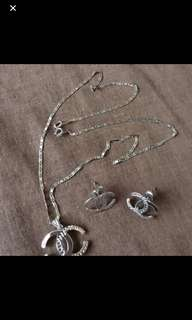 Chanel inspired white gold necklace & earrings