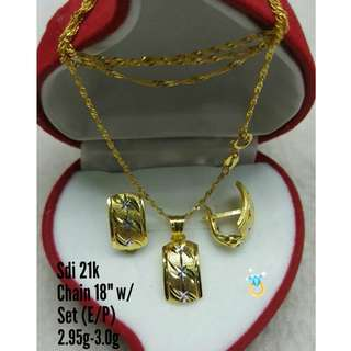 21K SAUDI GOLD SET ( CHAIN, PENDANT & EARRINGS ) <<<<>>