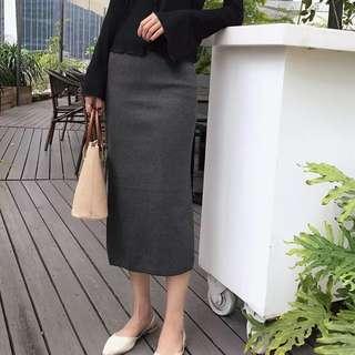 BNWT Grey knitted rubbed back slit high waist midi bandage skirt