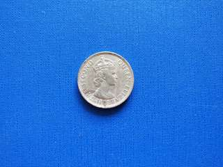 Old Coin Malaya British Borneo Queen Elizabeth II 50 cents  coin 1955