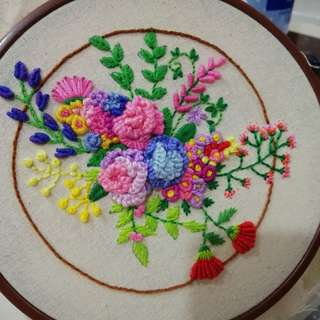 100% hand embroidery flower