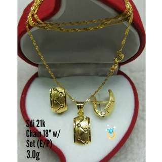 21K SAUDI GOLD SET ( CHAIN, PENDANT & EARRINGS ) >>><<<<