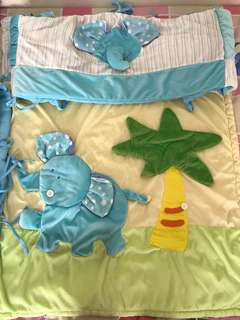 Baby Cot Side Protector & Blanket (1 set with 3 pcs)