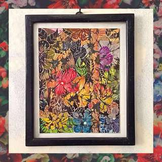"Acrylic Painting (with frame) - ""Flora in Black"""