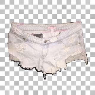 white/light blue denim shorts