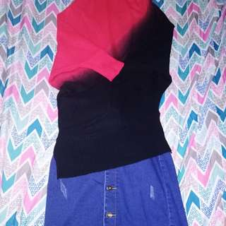 Redgirl ombre blouse with iJeans denim skirt