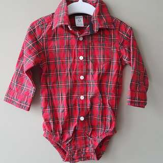 Carter's Collared Plaid Long Sleeved Bodysuit (12mths)