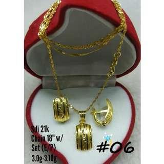 21K SAUDI GOLD SET ( CHAIN, PENDANT & EARRINGS ) ..<><>