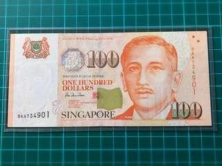 0AA 1st prefix Portrait Series $100 Banknote signed HTT