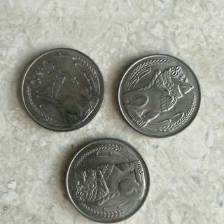 3 PCS 1976 SINGAPORE $1 MERLION COINS