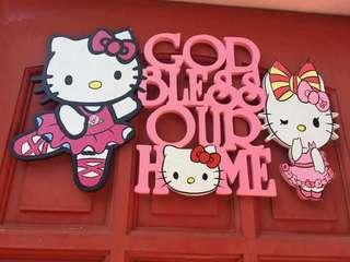 hello kitty wood wall display