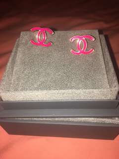 Chanel Electric Pink Earrings