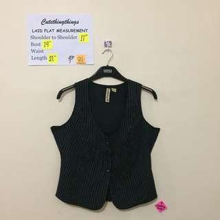 Pinstripes Black Vest