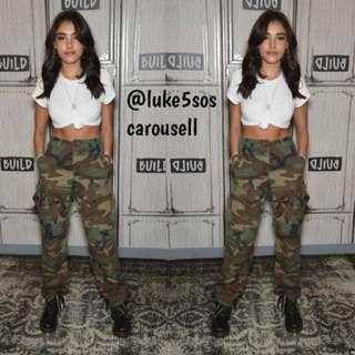 INSTOCKS Cobain cargo high waisted military pants - camo print army