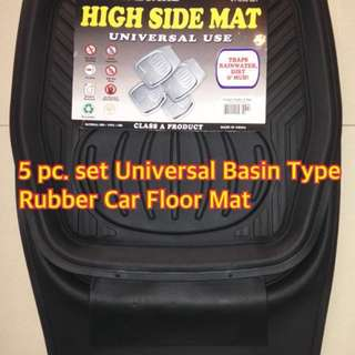 FLOOR GUARD 5 PC. SET UNIVERSAL BASIN TYPE RUBBER CAR MAT